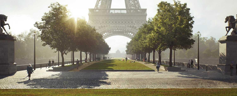 Okolí Eiffelovy věže se dočká modernizace, prim budou hrát parky a vodní plochy