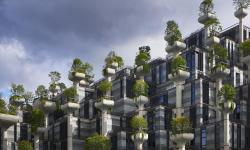 Heatherwick Studio v Číně vyčarovalo kouzelné sídliště plné listnatých stromů